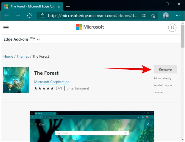 Damos clic en remover o quitar. De esta forma podemos borrar un tema de Microsoft Edge.