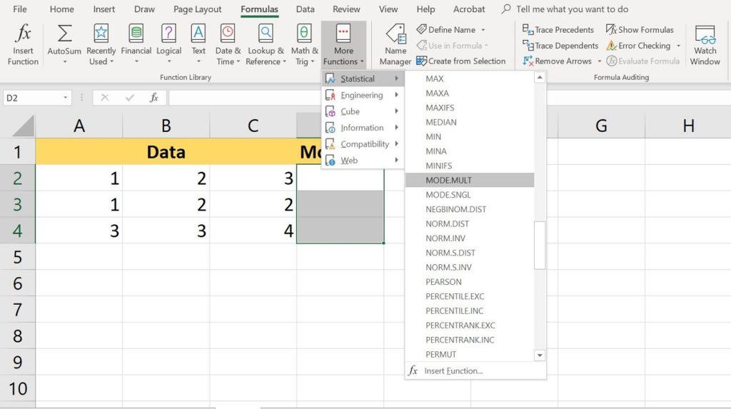 función MODO Excel 2