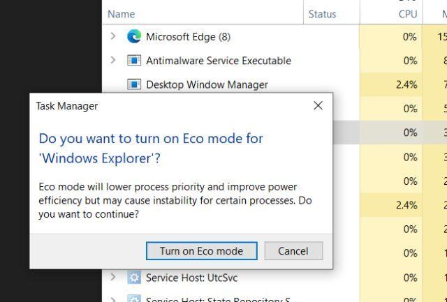 Confirmar el modo ECO en la aplicación.
