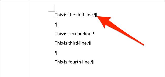 Icono de salto de párrafo en Word.