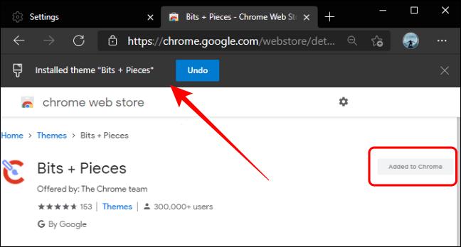 El tema de Chrome se añadió en Edge.