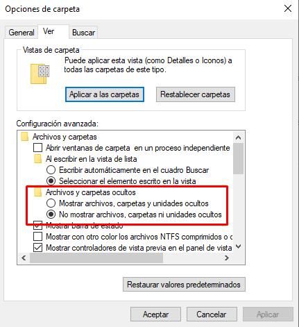 Ocultar iconos del escritorio de Windows 10.