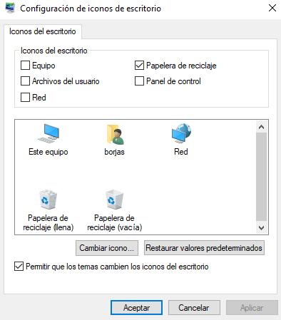 Ocultar iconos del sistema en Windows 10.