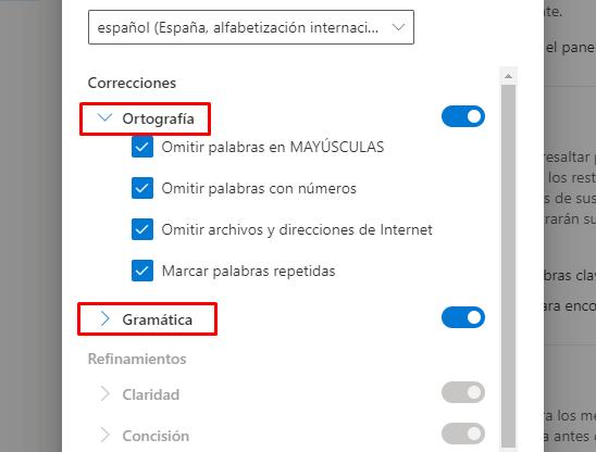 Ortografía y Gramática.