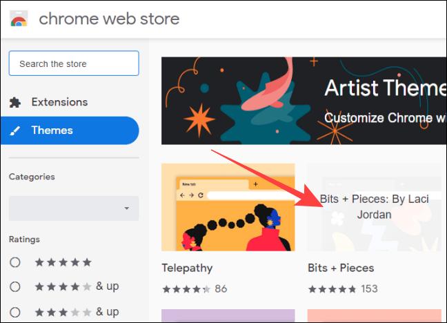 Elegimos el tema en Chrome.