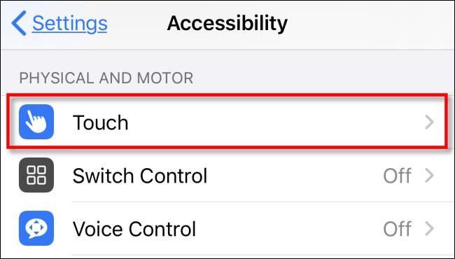 Touch en Configuración.