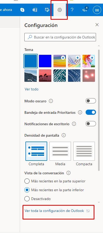 Ver toda la configuración de Outlook.