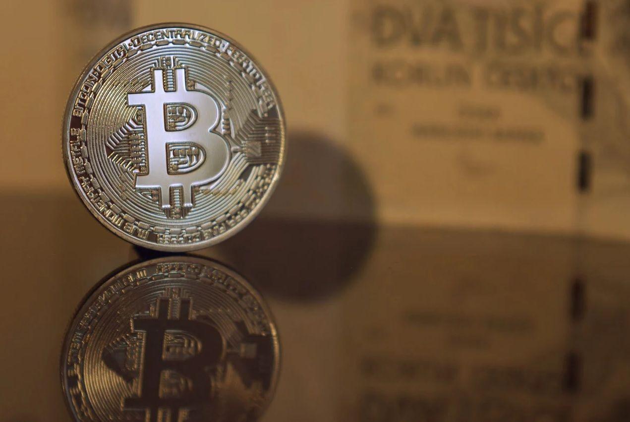 moneda bitcoin reflejo