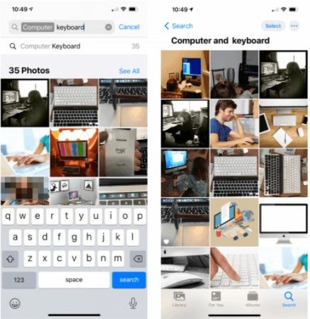 Palabras clave para buscar fotos en iPhone.