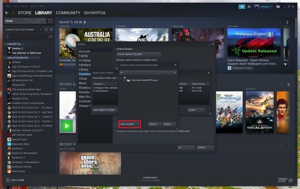 cambiar ubicación descargas Steam 2