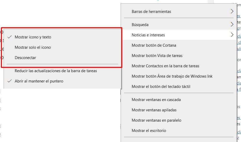 Configurar cómo se muestra el icono del clima en la barra de tareas.