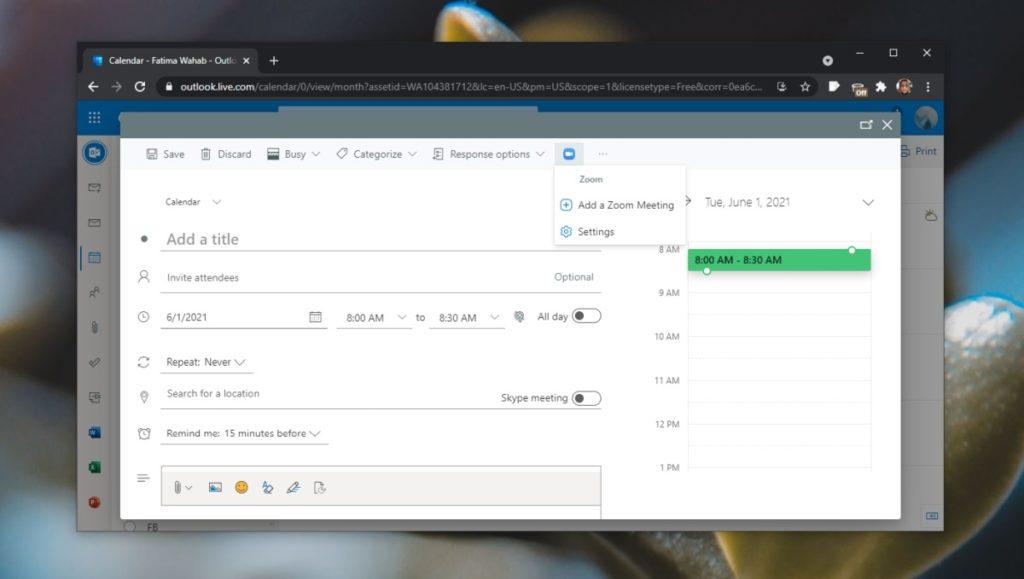 configurar reunión Zoom Outlook 2