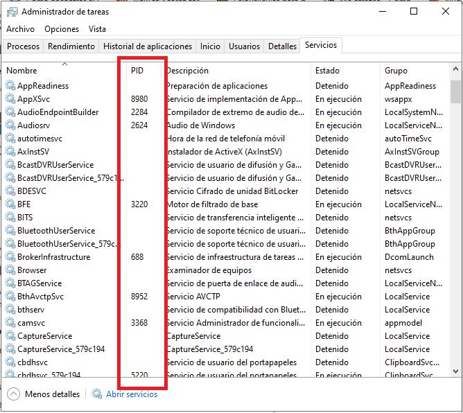 Cómo identificar ID de servicios en Windows.