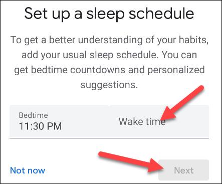 Configuramos horarios para dormir y despertar.