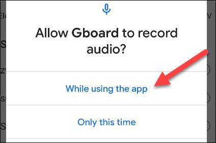 Darle permisos a la función de voz de Gboard.