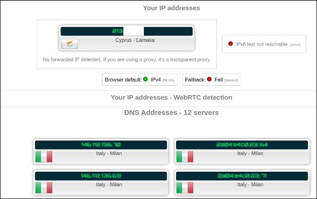 Probando conexión sin VPN activado.