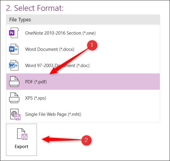 Seleccionar formato PDF.