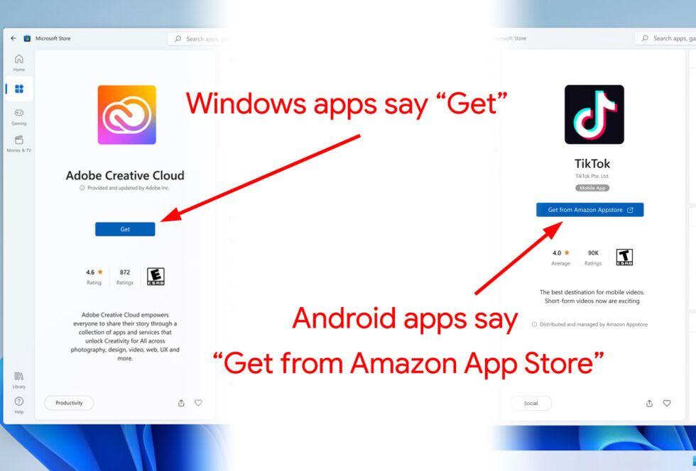 Aplicaciones de Android en Windows 11.