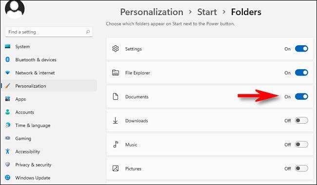 Activar cada carpeta especial para tenerla como acceso directo en el menú de inicio de Windows 11.