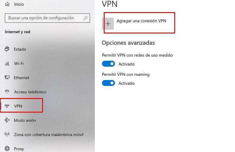 Agregar conexión VPN.