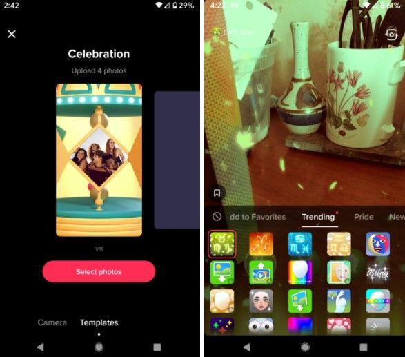 Podemos usar plantillas para editar fotos y vídeos en TikTok.