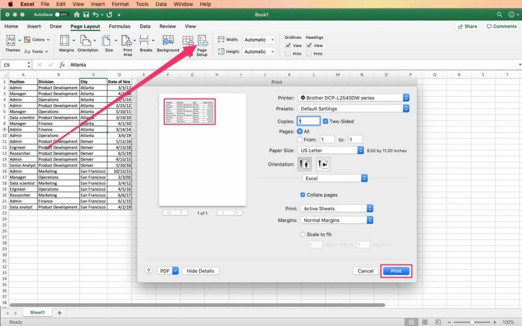 área de impresión Excel 2