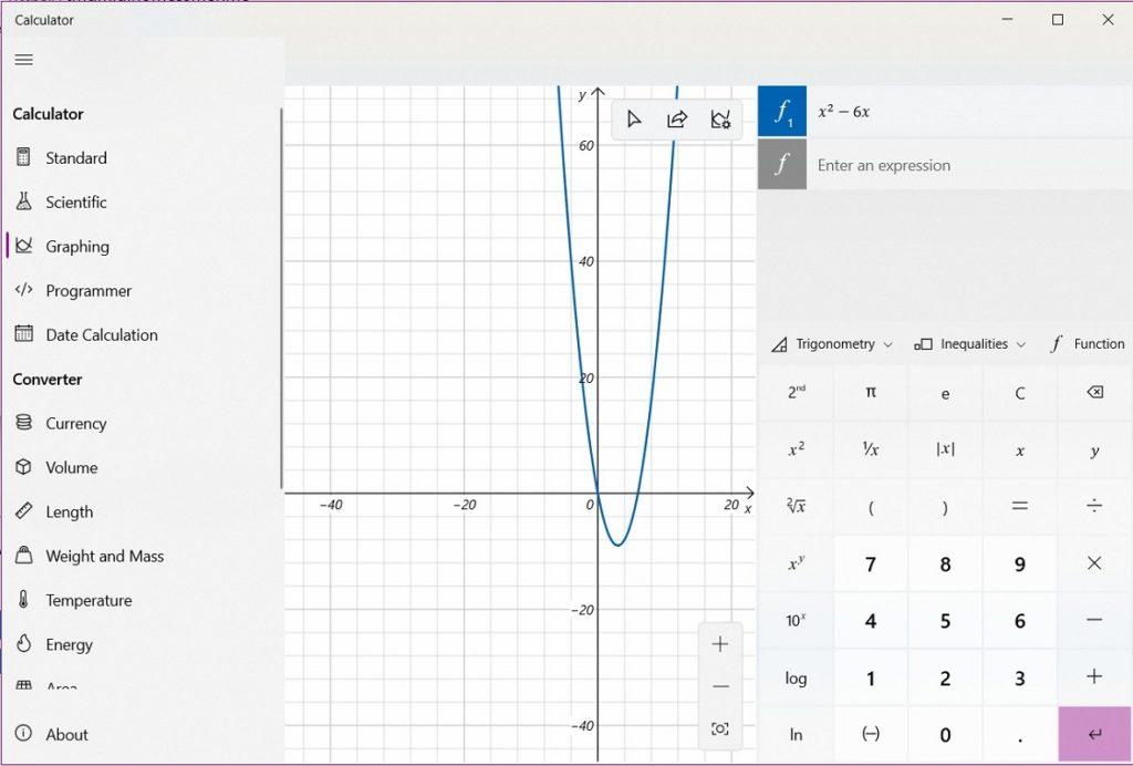 calculadora gráfica Windows 10 2