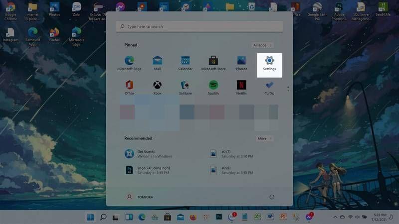 Configuración de Windows 11.