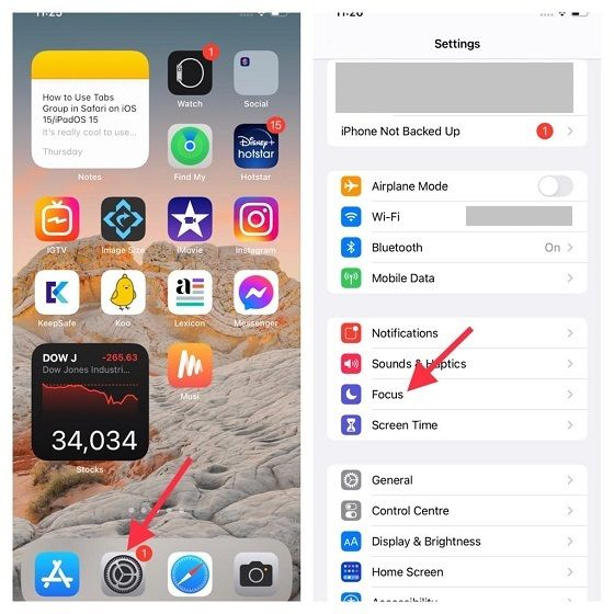 Vamos al apartado enfoque en iOS 15.