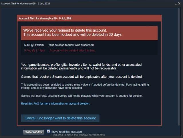 La cuenta quedara bloqueada por 30 días y de esta forma podemos eliminar cuenta Steam siempre.