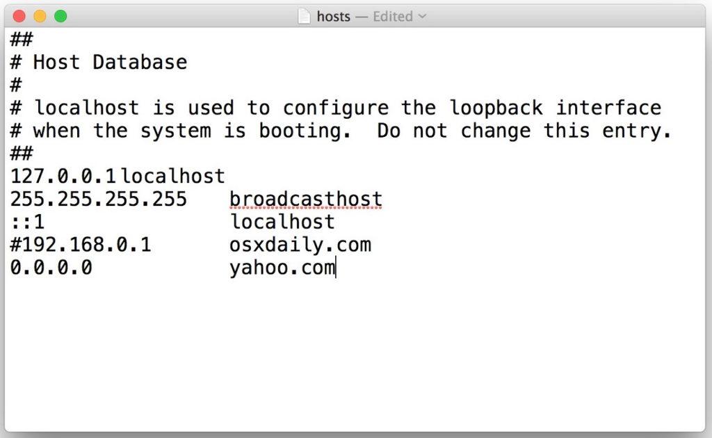 editar Hosts MacOS 2