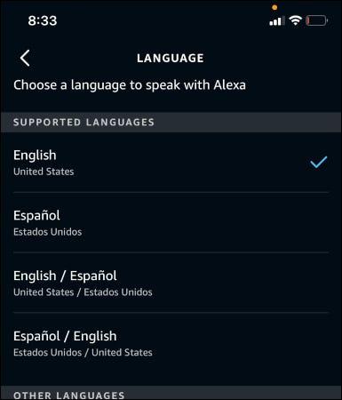Elegir idioma.