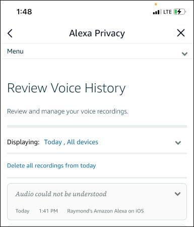 Eliminar grabación de Alexa.