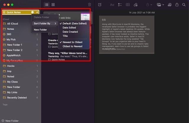Ordenar todas las Quick Note o notas rápidas en macOS.
