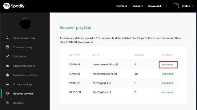 Restaurar playlist de Spotify.