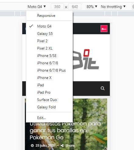 Ver web para móviles en diferentes dispositivos.