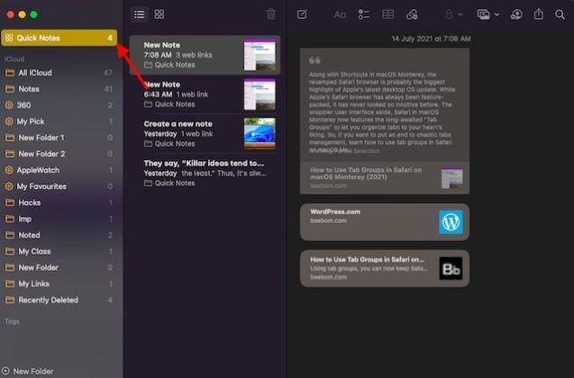 Ver y editar Quick Notes en macOS.