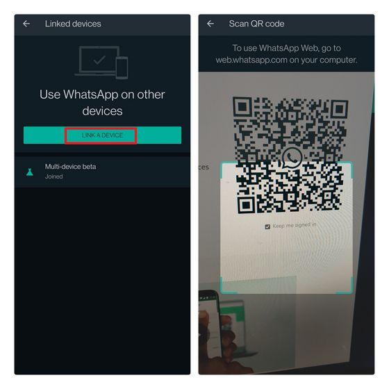 Vincular un nuevo dispositivo en WhatsApp.