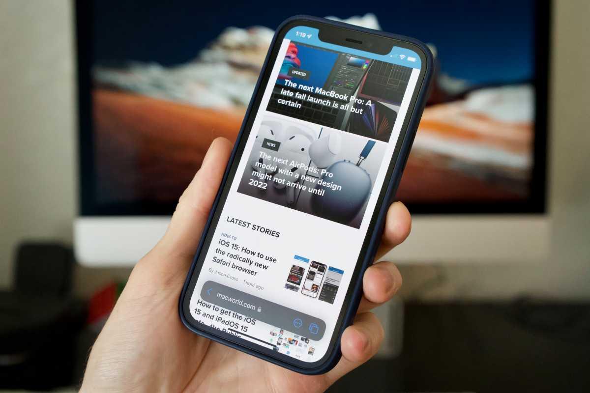 Cambiar diseño de barra de direcciones de Safari en iOS 15