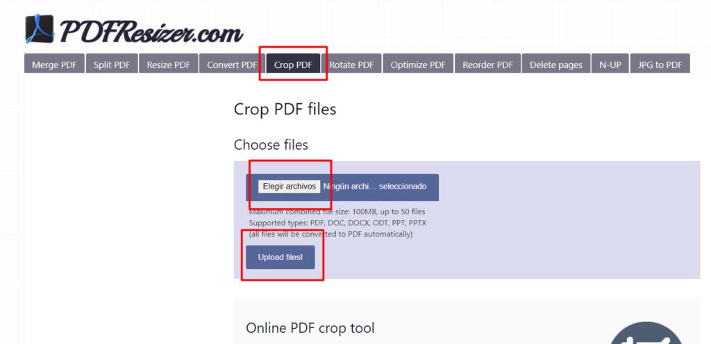 PDFResizer para recortar PDF.