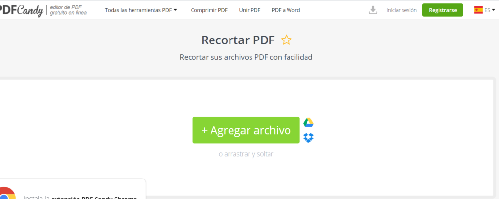 DFCandy nos permite recortar muchos documentos PDF de forma gratuita.