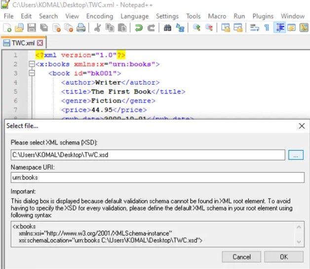 Validar XML con XDS en Notepad++