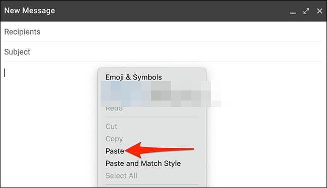 Pegar tabla en el correo electrónico.