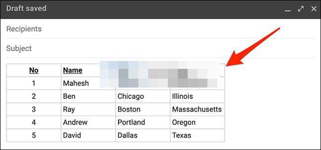 Así logramos insertar una tabla en un correo electrónico de Gmail desde Windows.