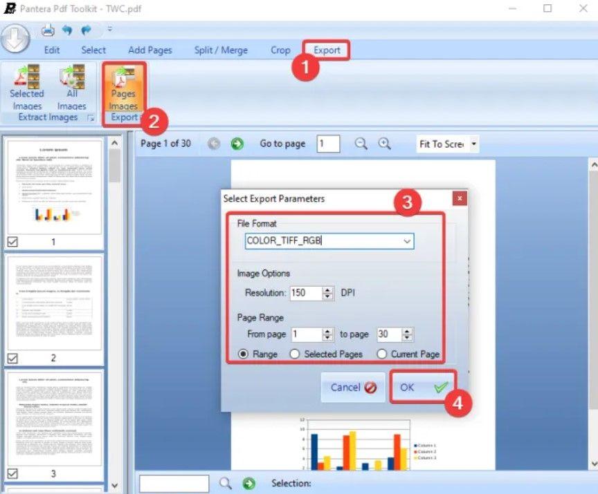 Pantera es la mejor forma de convertir documento PDF a TIFF