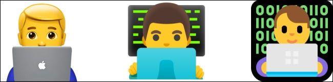 Emojis de Apple, Google y Microsoft.