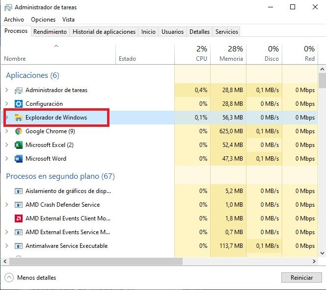 Reiniciar el Explorador de Windows.