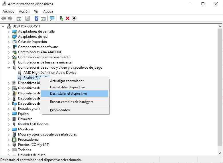 Desinstalar controladores para corregir problemas de volumen en Windows.