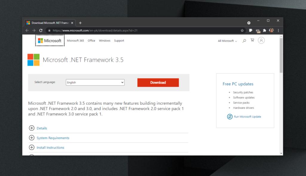 Descargar Microsoft .NET Framework 3.5