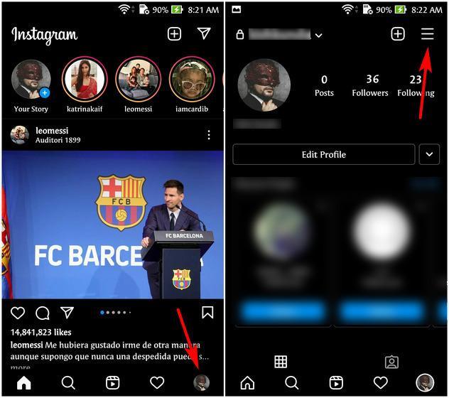 Ingresar a nuestro perfil de Instagram para iniciar el proceso para desconectar cuenta de Facebook.